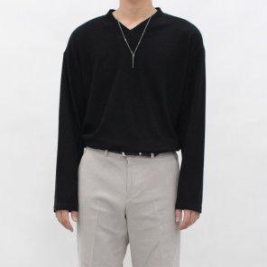 남자 여자 미니멀 심플 좁은 브이넥 니트 티셔츠_T0524