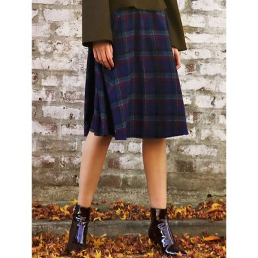 Check Button Skirt _ Purple