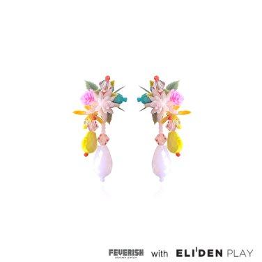 [피버리쉬] FLOWER BLAST SMALL DROP EARRINGS-MULTICOLOR (FB1E3)