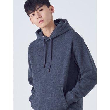 남성 애쉬 솔리드 오버사이즈 기모 후드 티셔츠 (458X41CY24)