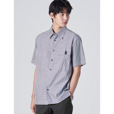 남성 네이비 스트라이프 포켓 빅 칼라 반소매 셔츠 (219765AY1R)
