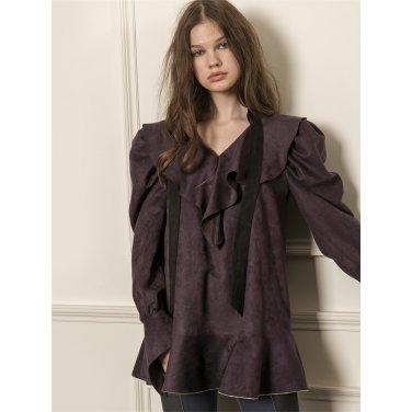 [까이에] Voluminous sleeves ruffle collar blouse