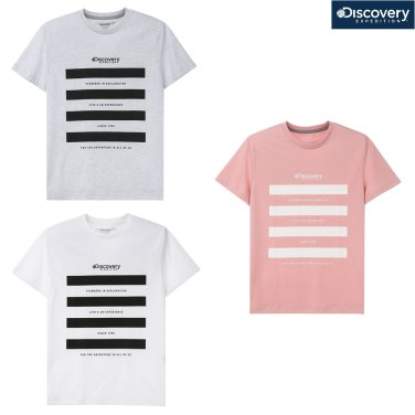 공용 스트라이프 그래픽 라운드 티셔츠