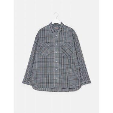 남성 그레이 솔리드 타탄체크 포켓 셔츠 (269864DY13)