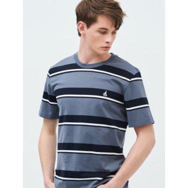 [Online Exclusive] Unisex 네이비 멀티 스트라이프 로고 자수 티셔츠 (BC9342N09R)