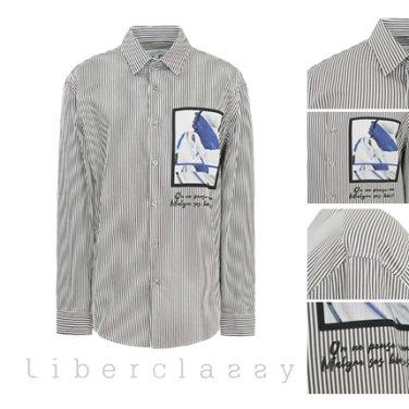 리버클래시(DJ) 블랙 스트라이프 그래픽 아트 패치 포인트 셔츠 LFW31352