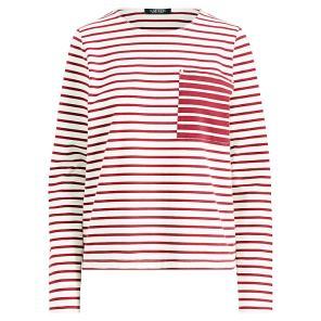 로렌 스트라이프 코튼 포켓 티셔츠(WMLRKNIS6810021C39)