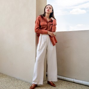 Buckle Belt Cupra High Waist Trousers White(2019FPT320_01)