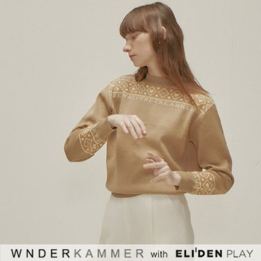 [분더캄머:WNDERKAMMER] Logo Jacquard Sweater Top_Beige (WK9F9-LJSW030)