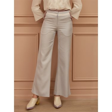 [까이에] Color-Block Straight-Leg Silk  Pants