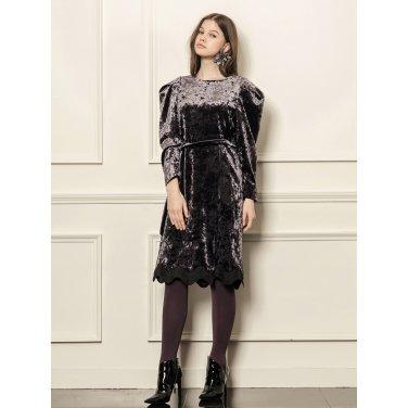 [까이에] Voluminous sleeves velvet dress
