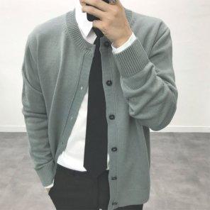 남성 라운드 헤라시 댄디 니트 가디건_JK0147