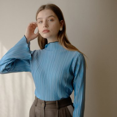 PLEATED T-SHIRT_SKY BLUE