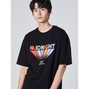 남성 블랙 코튼 멀티 컬러 레터링 반소매 티셔츠 (269742DY25)