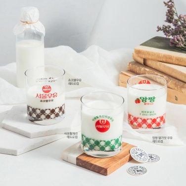 [릴레이ON][무료배송]서울우유 레트로컵6종 - 3종세트(흰,딸기,쵸코)