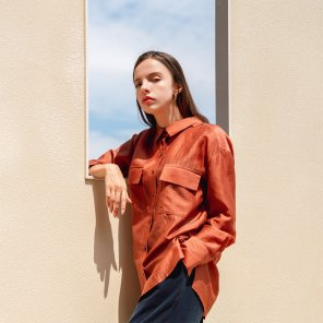 See-through Pocket Wide Cuffs Shirt Tangerine(2019FST320_04)