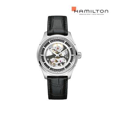H42555751 재즈마스터 뷰매틱 스켈레톤 젠트 실버 / 블랙 가죽 남성 시계