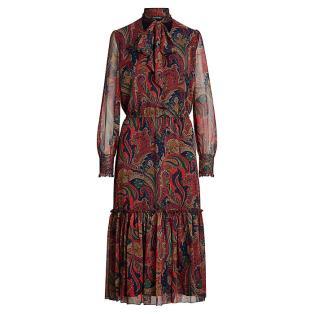 로렌 랄프 로렌 타이넥 조젯 드레스(WMLRDRSS6820003410)