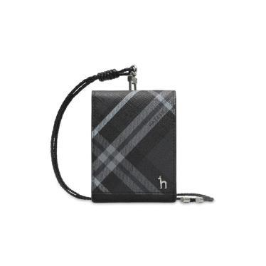 HJHO9F660BK_[DUBLIN] 블랙 체크 2단 목걸이형 카드지갑