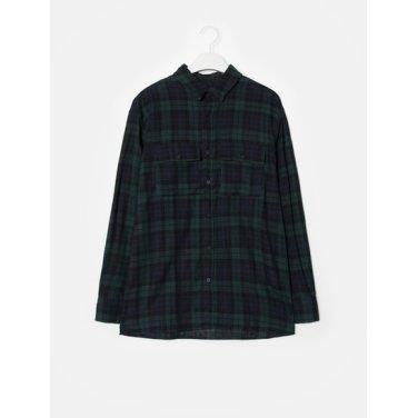 남성 그린 타탄체크 코튼 투포켓 셔츠 (238864CQ1M)