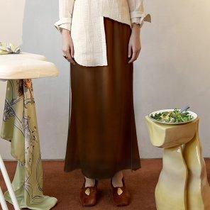 Rosto Layered Skirt_Black+Camel (JC19FWSK06CM)