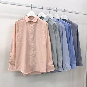 남성 핀 스트라이프 댄디핏 와이드 카라 셔츠_SH0165