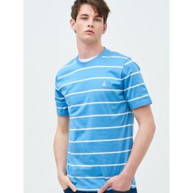 [Online Exclusive] Unisex 스카이 블루 스트라이프 로고 자수 티셔츠 (BC9342N01Q)