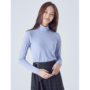 여성 스카이 블루 솔리드 스트레치 터틀넥 슬림 티셔츠 (128941YQ1Q)
