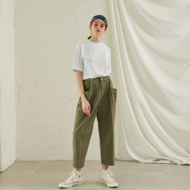 Tapered Cotton Pants _ Khaki