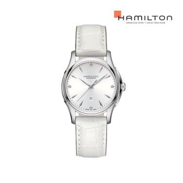 H32315811 재즈 뷰매틱 레이디 오토 다이아몬드 화이트 가죽 여성 시계