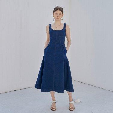 [장도연 착용] 슬림핏 데님 드레스 (OBFDO001ABLL)