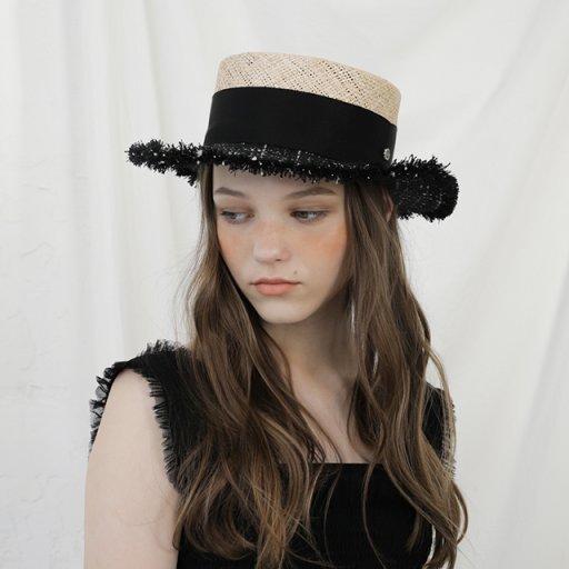 Tweed boater hat - Black