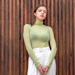 Wool Tencel Long Sleeve Turtle Neck L.Green(2019FTS320_01)