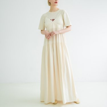 Shoulder strap Sleeveless Dress Light Beige(BSOP320_02)