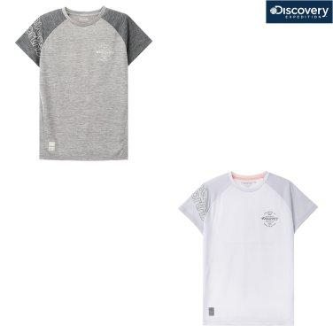 여성 자이언(ZION) 래글런 블럭형 라운드 티셔츠 DWRT6L831