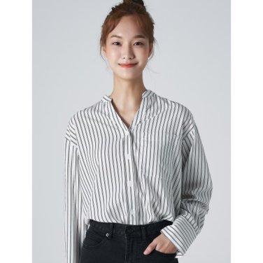여성 화이트  베이직 포인트 스트라이프 셔츠 (329864LYH1)