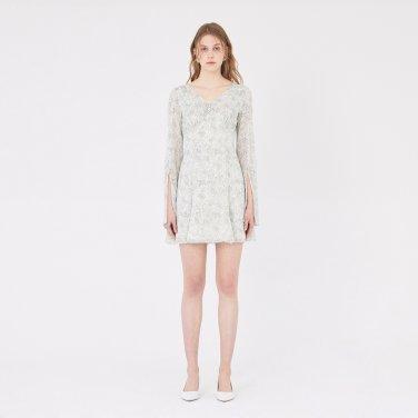 19SS LONG-SLEEVED CHIFFON MINI DRESS - WHITE