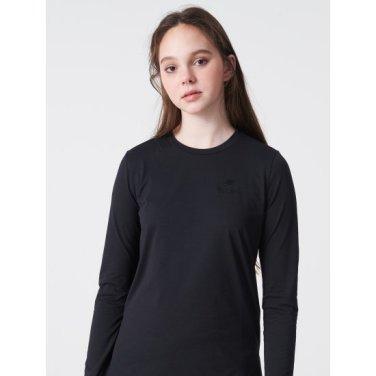 블랙 여성 솔리드 라운드넥 티셔츠 (BO9141C215)