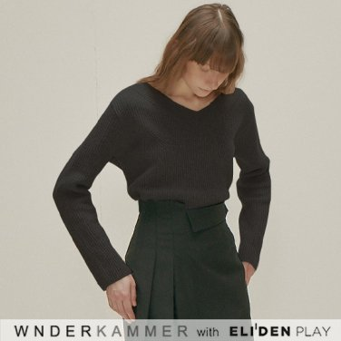 [분더캄머:WNDERKAMMER] Wool Sweater Top_Black (WK9F0-WOSW060)