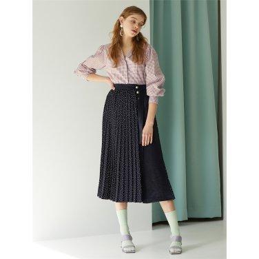 [에프코코로미즈] dot pleats wrap skirt