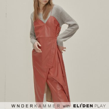 [분더캄머:WNDERKAMMER] Button Leather Dress_Red (WK9F0-BLOP080)
