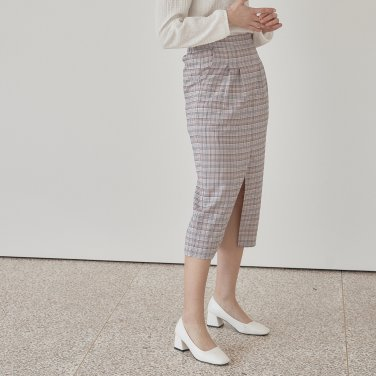 CHECK TUCKED SKIRT_LIGHT PURPLE