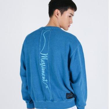 Lettering Section Pigment Sweatshirt(BLUE)
