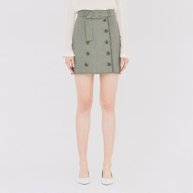 19SS BUTTON-FRONT MINI SKIRT WITH BELT - GREEN