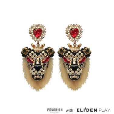 [피버리쉬] FURRY LION EARRINGS-GOLD (LION1E10)