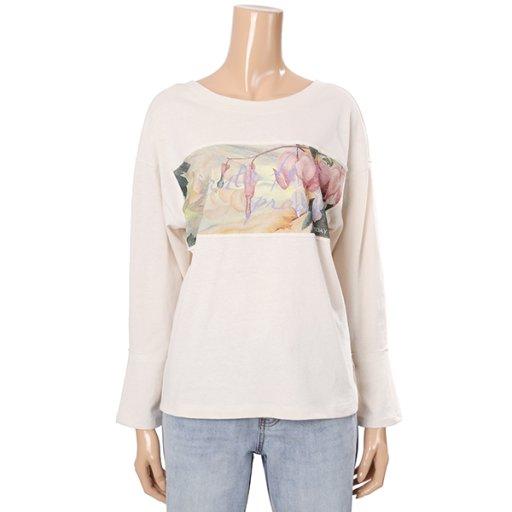 [여성]보트넥 그래픽 패치 티셔츠(T192MTS135W)