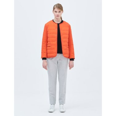 [B-Light 다운] 오렌지 라운드넥 경량 다운 점퍼 (BF9138U018_)