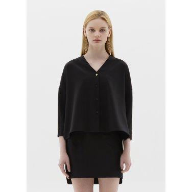 v neck blouse black SH07