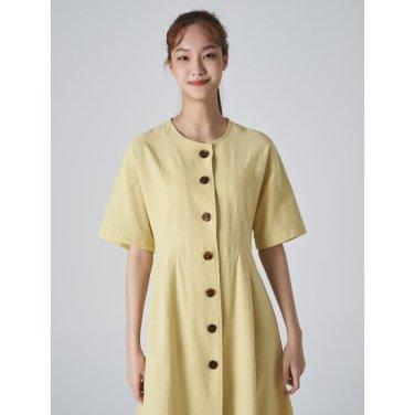 여성 레몬 코튼 핀턱 버튼업 A라인 원피스 (169771KY1F)