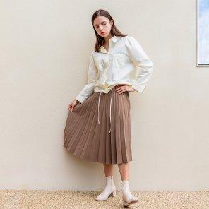 Pleated Long Side Zipper Skirt Brown(2019FSK320_02)